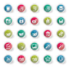 25 Simple Realistic Detailed Internet Icons  over colored background - Vector Icon Set