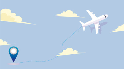 Flight route of the aircraft from the point of departure to the destination. Vector graphics. Can be used for airline brochures.