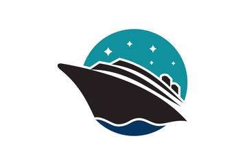 cruise ship on sea logo