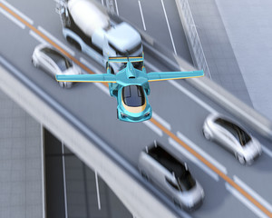 Aerial top view of futuristic flying car flying over traffic jam in highway. Fast transportation without traffic jam concept. 3D rendering image.