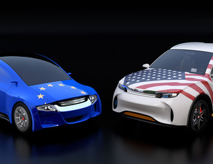 EU and US flags on two automobiles hood. black background. Europe USA trade war, American tariffs concept. 3D rendering image.