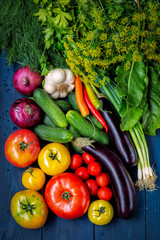 Assorted vegetables on a dark wooden background