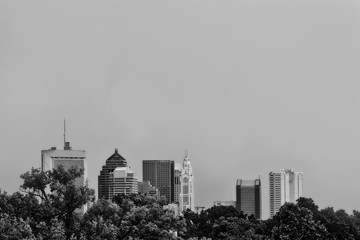 Looking south at the city of Columbus, Ohio skyline.  The black and white image provides plenty of copy space.