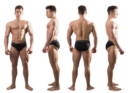 Four views of muscular shirtless male bodybuilder: back, front and profile shot, isolated on white background