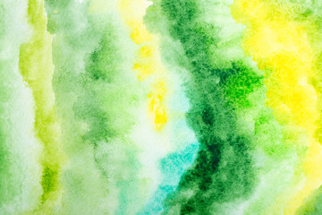 Green watercolor background. by drawing
