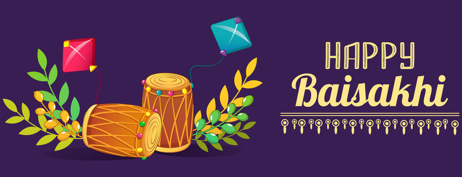 Happy baisakhi drums concept banner. Cartoon illustration of happy baisakhi drums vector concept banner for web design
