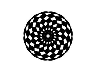 Black checkered mandala on white background. Mandala decor vector element. Round stamp template.
