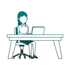 Businesswoman working with laptop at office vector illustration graphic design
