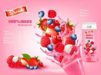 Fresh Juice with Exotic Fruits and Splashing Liquid. Advert Concept. Design template. Vector.