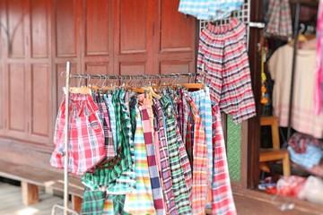Thailand plaid fabric shop