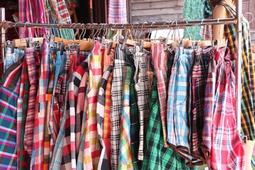 Thailand plaid fabric shop
