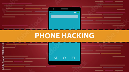phone hacking concept with smartphone and programming hack