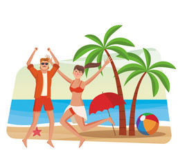 Beautiful couple having fun at beach vector illustration graphic design