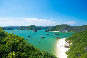 A view over Halong bay from the top of Monkey island
