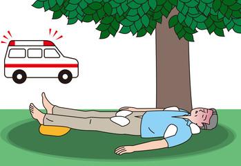 熱中症の応急手当を受ける高齢者