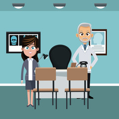 Doctor at hospital office with patient vector illustration graphic design
