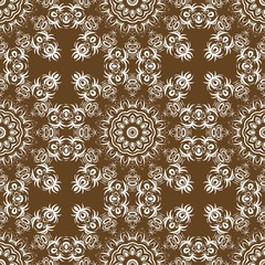 Floral Geometric Pattern with hand-drawing Mandala. Vector illustration. For fabric, textile, bandana, scarg, print.