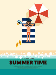 Summer time and happy holiday poster template background