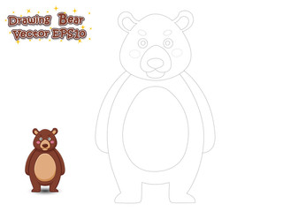 Drawing and Paint Cute Bear Cartoon . Educational Game for Kids. Vector Illustration.