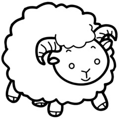 Cute sheep cartoon illustration isolated on white background for children color book