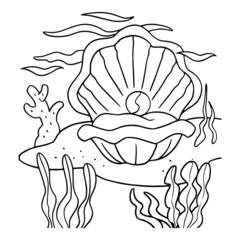 Cute clam cartoon illustration isolated on white background for children color book