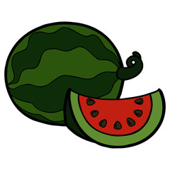 Cute watermelon cartoon illustration isolated on white background for children color book