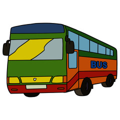 Cute bus cartoon illustration isolated on white background for children color book
