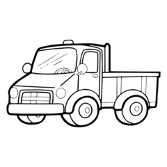 Cute truck cartoon illustration isolated on white background for children color book
