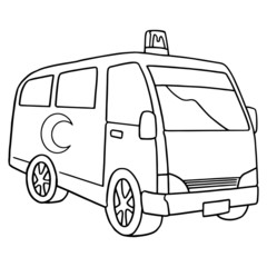 Cute ambulance cartoon illustration isolated on white background for children color book