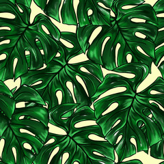 Green monstera leaf tropical plant watercolor ink line art hand drawn sketch seamless pattern texture background