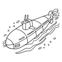 Cute submarine cartoon illustration isolated on white background for children color book