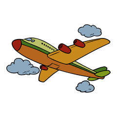 Cute airplane cartoon illustration isolated on white background for children color book