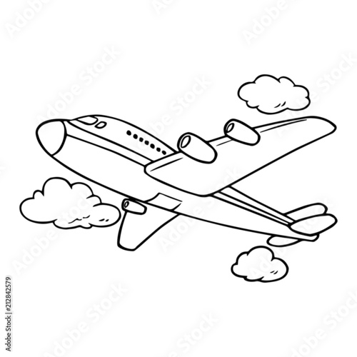 Cute Airplane Cartoon Ilration Isolated On White Background For