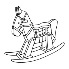 Rocking Horse cartoon illustration isolated on white background for children color book