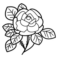 Rose cartoon illustration isolated on white background for children color book