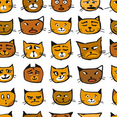 Cat faces, seamless pattern for your design