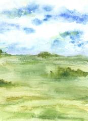 фон акварели трава и небо