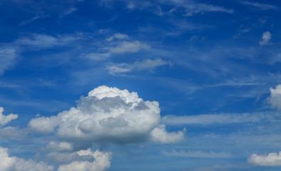 Shot of sky with giants cumulonimbus blue sky with cloud closeup