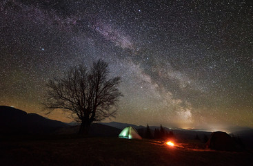 Bright campfire burning near tourist illuminated tent. Night camping in mountain valley incredible beautiful sky full of stars and Milky way. Silhouette of big tree and distant hills in background