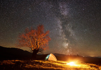 Amazing night camping site view. Bright campfire burning near tourist tent under beautiful sky full of stars and Milky way. Big tree and distant mountain range on background