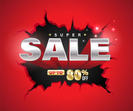 Super sale 3D exploded on cracked wall.