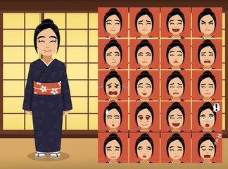 Japanese Woman Cartoon Emotion faces Vector Illustration