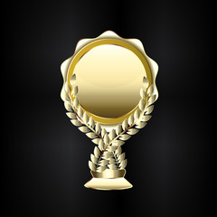 Golden trophy laurel wreath icon logo