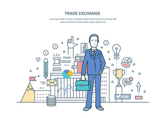 Trade exchange, auctions, foreign exchange market, protection of trades.