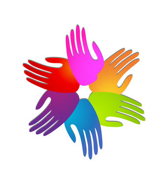 Hands of people coming together for change icon