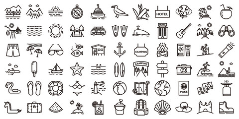 Big summer vacations icon set. Vector thin line illustrations with objects, activities and places related with traveling, tourism, outdoors in the beach and mountain, camping, resorts and hotels.