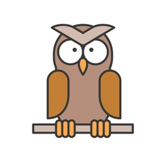 Owl,  filled outline design