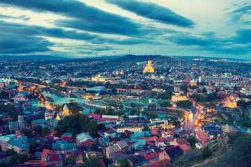 Wall Mural - Beautiful evening panoramic view of Tbilisi after sunset, Georgia country