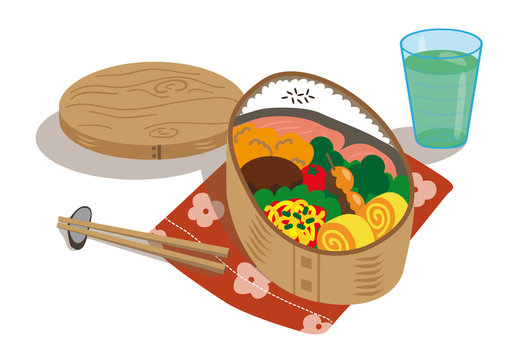 japanese food box with salmon and varieties of foods iced green tea glass