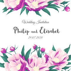 Vintage Wedding Invitation template with peonies